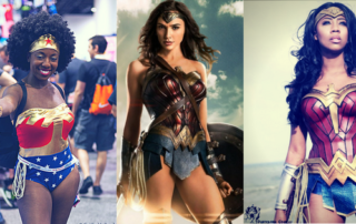 Three women dressed in Wonder Woman Costumes