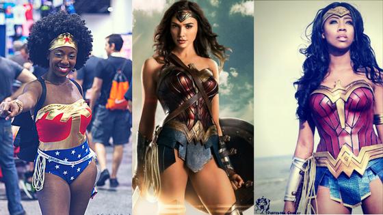 Three women dressed in Wonder Woman Costumes